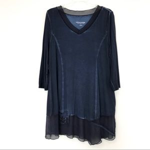 Soft surroundings navy blue Fleur De Lis Shirt Top